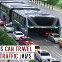 (Video) Elevated Bus That Drives Above Traffic Jams