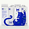 This Adorable Blue Cat Moves Across The Milk Packaging